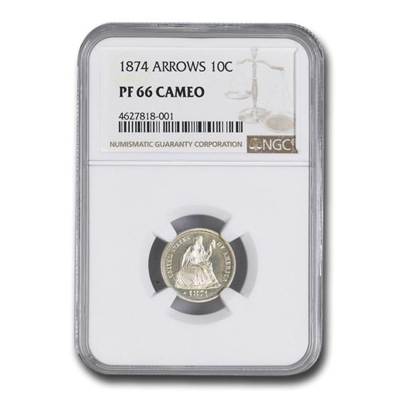 1874 Liberty Seated Dime PF-66 Cameo NGC (Arrows)