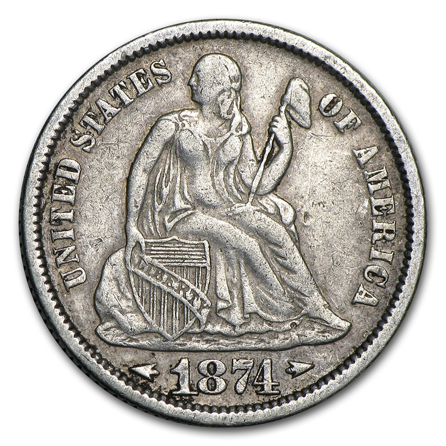 1874 Liberty Seated Dime VF