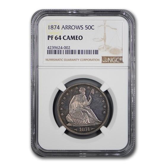 1874 Liberty Seated Half Dollar PF-64 Cameo NGC (Arrows)