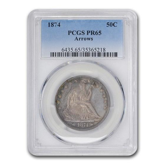 1874 Liberty Seated Half Dollar PR-65 PCGS (Arrows)