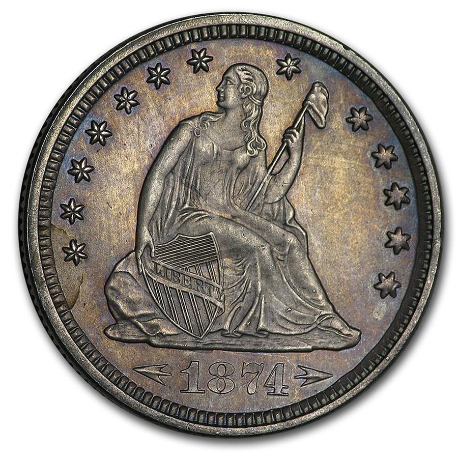 1874 Liberty Seated Quarter BU