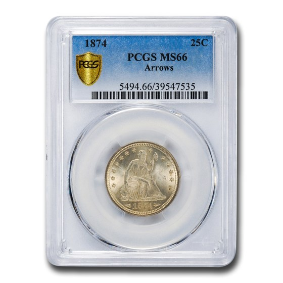 1874 Liberty Seated Quarter MS-66 PCGS (Arrows)