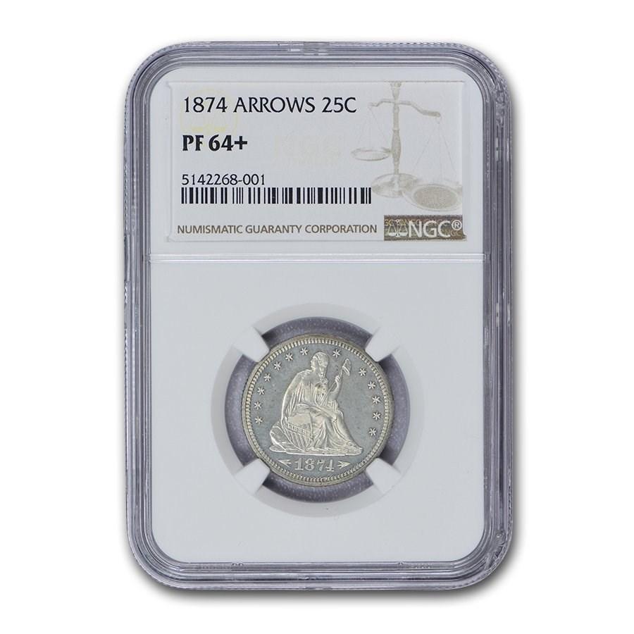 1874 Liberty Seated Quarter PF-64+ NGC (Arrows)