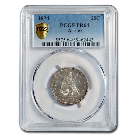 1874 Liberty Seated Quarter w/Arrows PR-64 PCGS