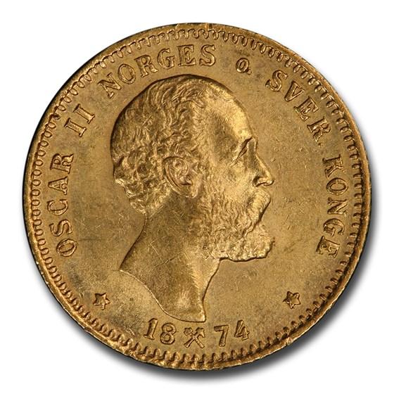 1874 Norway Gold 10 Kroner MS-63 PCGS (2-1/2 Speciedaler)