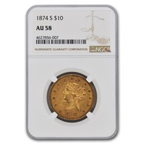 1874-S $10 Liberty Gold Eagle AU-58 NGC