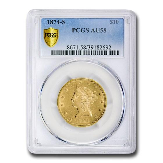 1874-S $10 Liberty Gold Eagle AU-58 PCGS