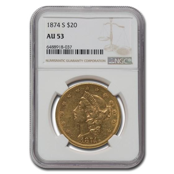 1874-S $20 Liberty Gold Double Eagle AU-53 NGC