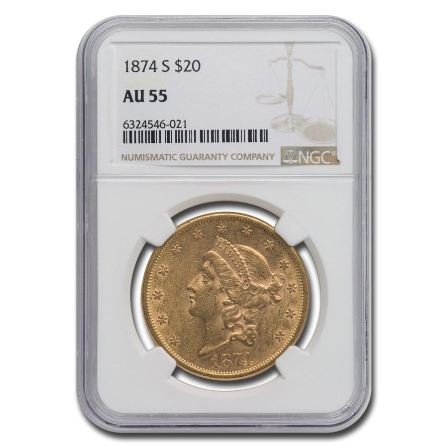 1874-S $20 Liberty Gold Double Eagle AU-55 NGC