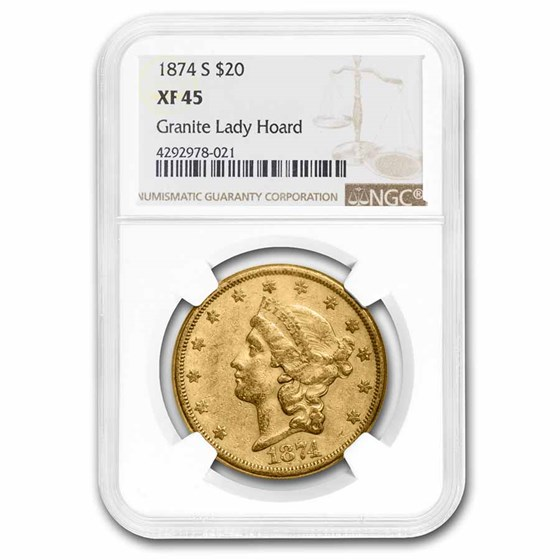 1874-S $20 Liberty Gold Double Eagle XF-45 NGC
