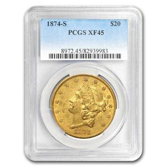 1874-S $20 Liberty Gold Double Eagle XF-45 PCGS