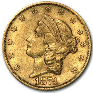 1874-S $20 Liberty Gold Double Eagle XF