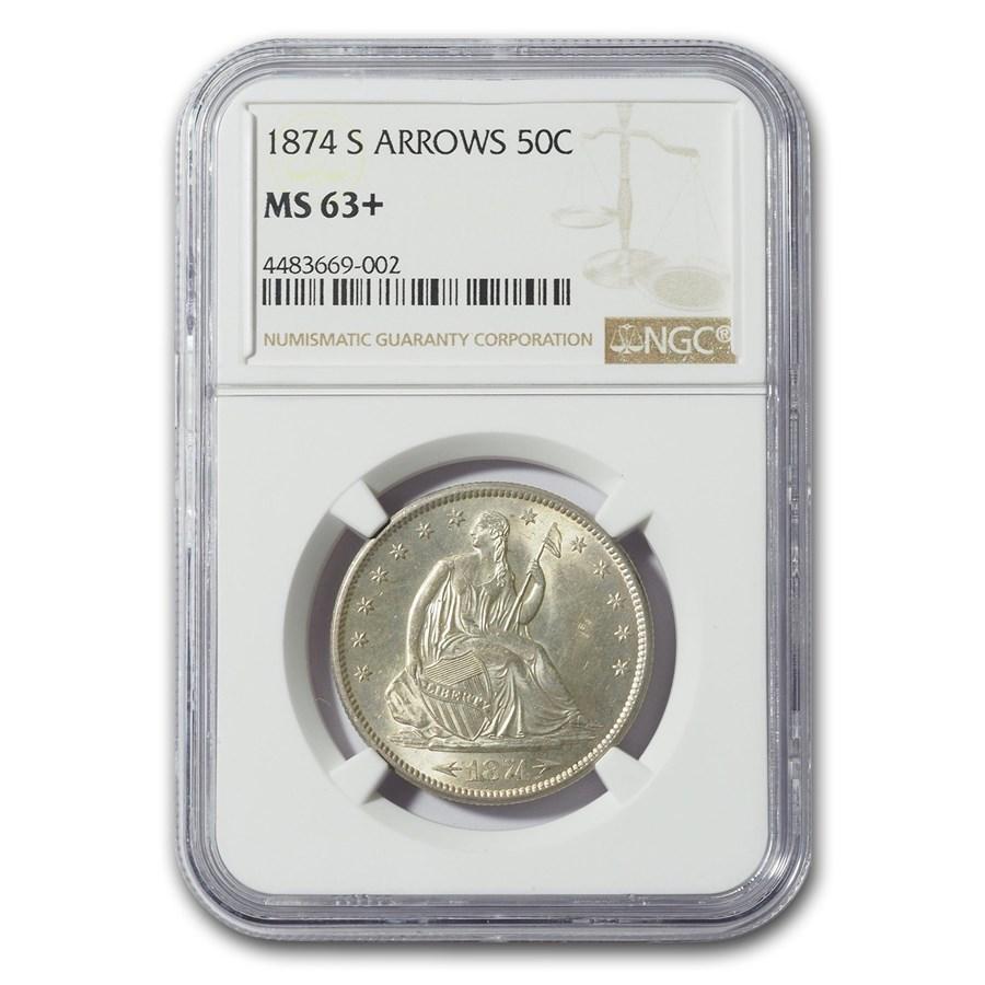 1874-S Liberty Seated Half Dollar MS-63+ NGC (w/Arrows)
