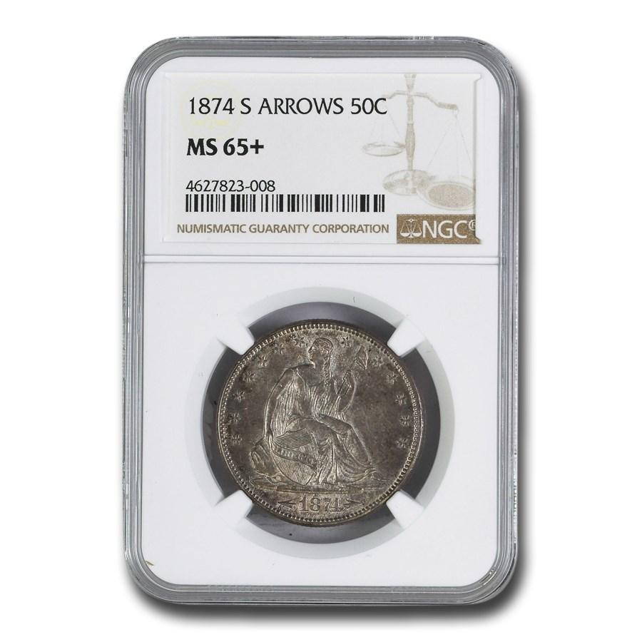 1874-S Liberty Seated Half Dollar MS-65+ NGC (Arrows)