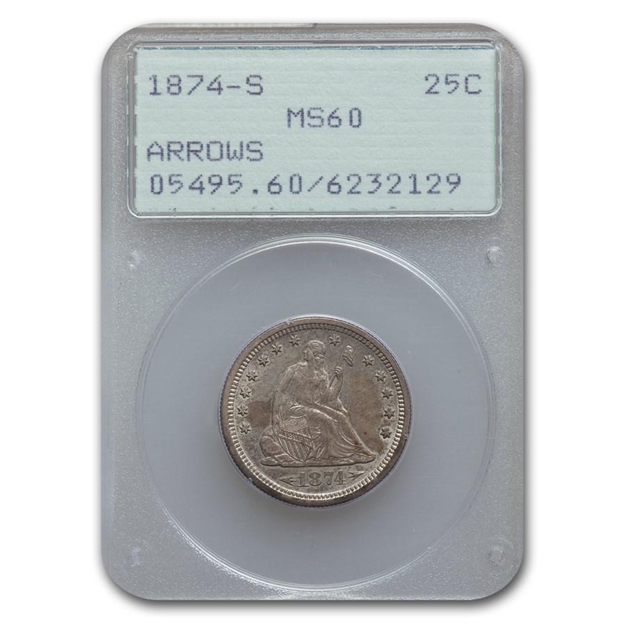 1874-S Liberty Seated Quarter MS-60 PCGS