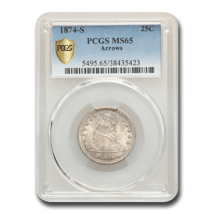 1874-S Liberty Seated Quarter MS-65 PCGS (Arrows)