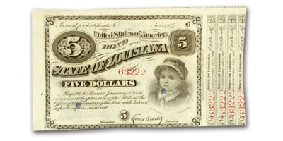 1874 State of Louisiana 'Baby Bond' $5.00 CR#29 AU