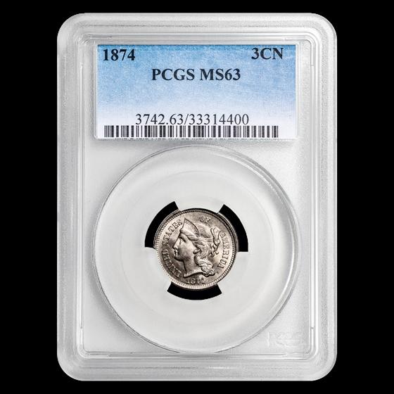 1874 Three Cent Nickel MS-63 PCGS