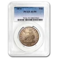 1874 Trade Dollar AU-55 PCGS