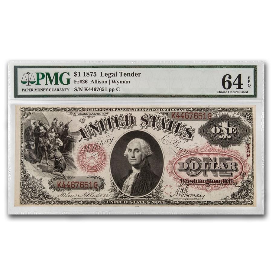 1875 $1.00 Legal Tender George Washington CU-64 EPQ PMG (Fr#26)