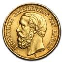 1875-1888 Germany Gold 10 Marks Baden Friedrich I Avg Circ