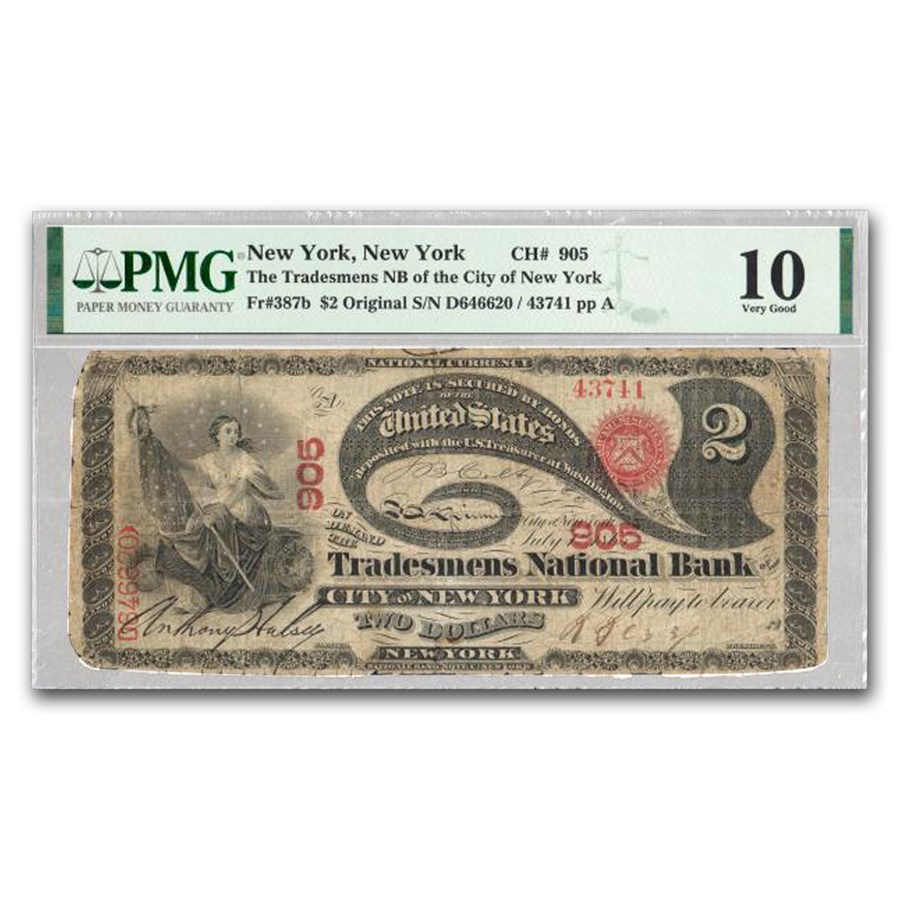 1875 $2.00 New York, New York VG-10 PMG (Fr#387B) CH#905