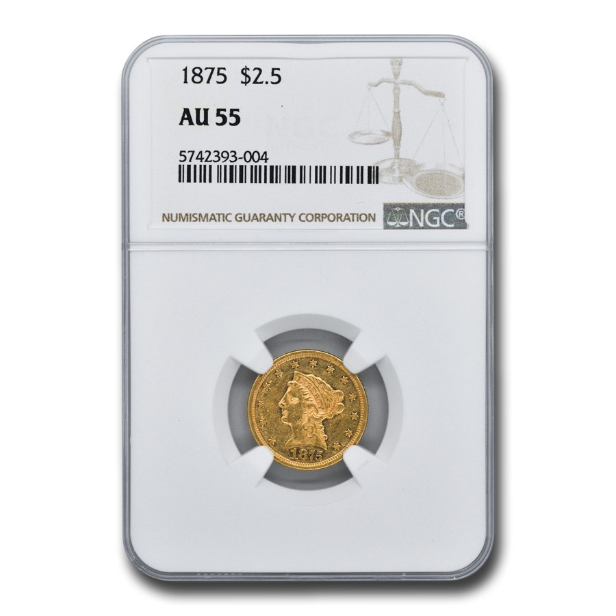 1875 $2.50 Liberty Gold Quarter Eagle AU-55 NGC