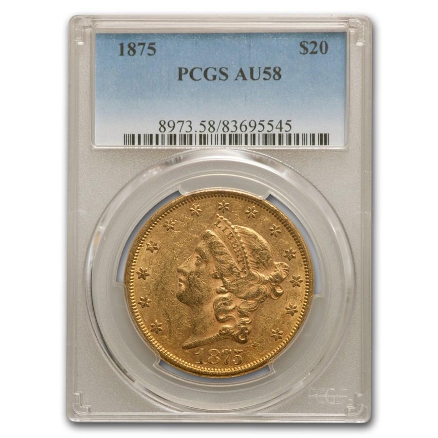 1875 $20 Liberty Gold Double Eagle AU-58 PCGS