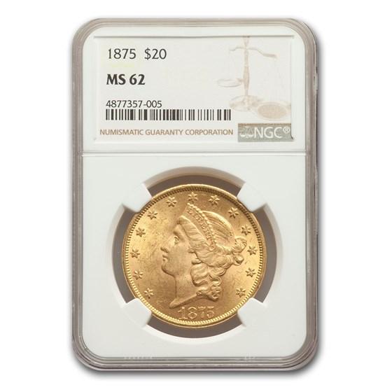 1875 $20 Liberty Gold Double Eagle MS-62 NGC