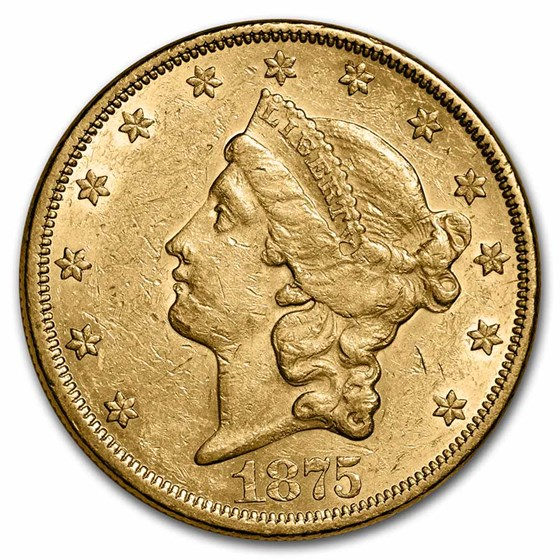 1875 $20 Liberty Gold Double Eagle XF