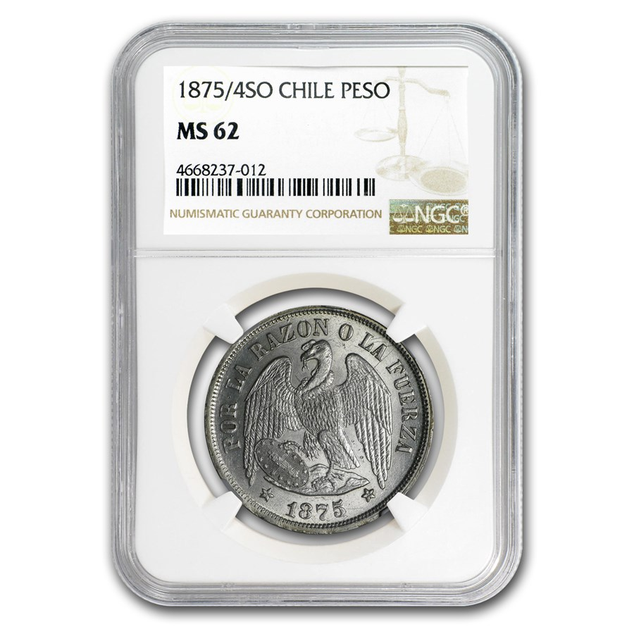 1875/4 SO Chile Silver 1 Peso MS-62 NGC
