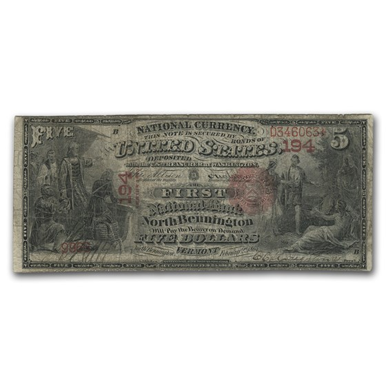 1875 $5.00 North Bennington, VT Very Good (CH#194)