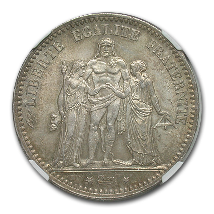 1875-A France Silver 5 Francs MS-64 NGC (Large A)