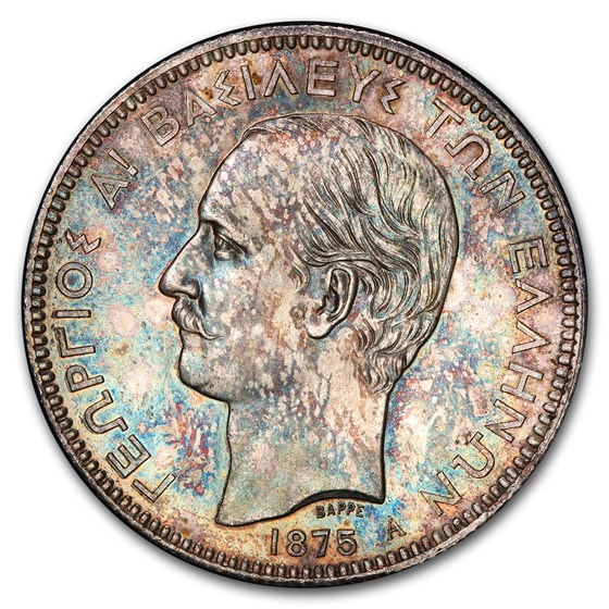 1875-A Greece Silver 5 Drachmai MS-64 PCGS