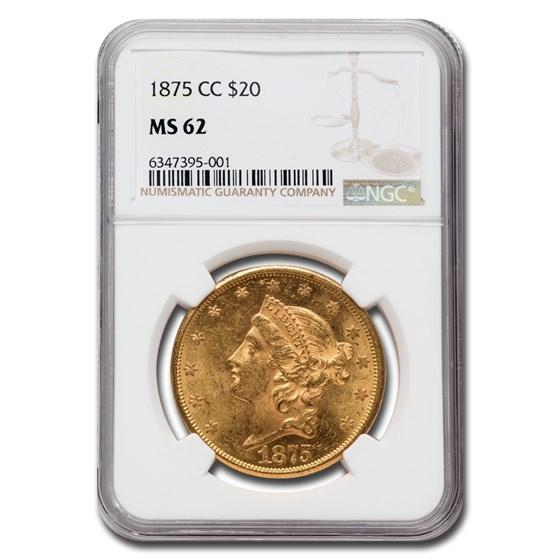 1875-CC $20 Liberty Gold Double Eagle MS-62 NGC