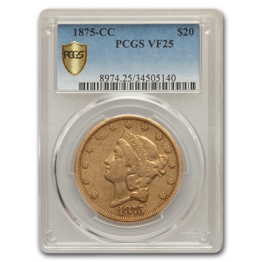 1875-CC $20 Liberty Gold Double Eagle VF-25 PCGS