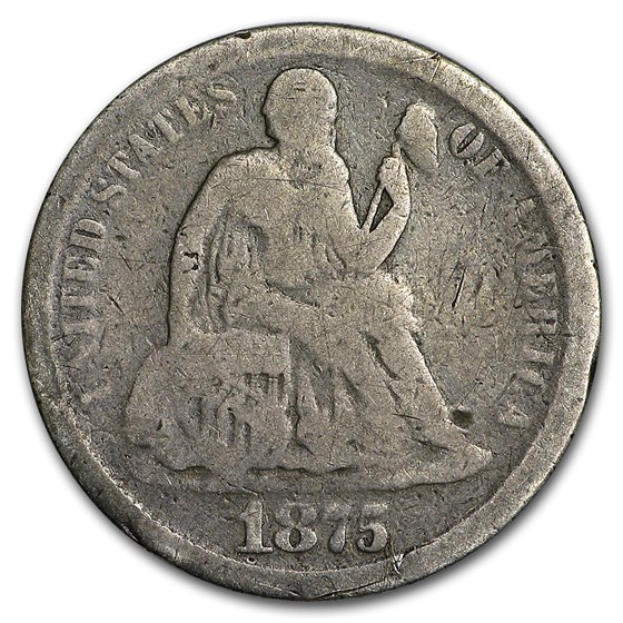 1875-CC Liberty Seated Dime Above Bow Good