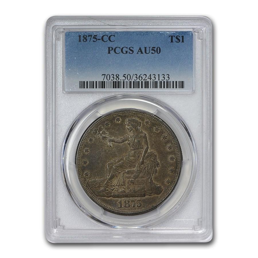 1875-CC Trade Dollar AU-50 PCGS