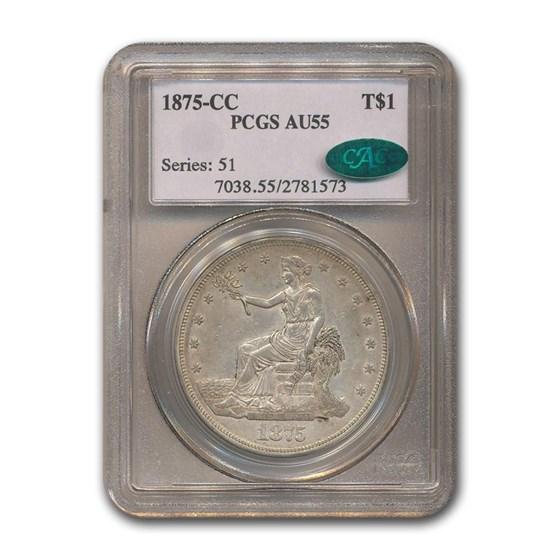 1875-CC Trade Dollar AU-55 PCGS CAC