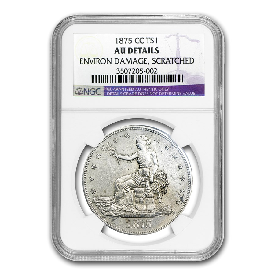 1875-CC Trade Dollar AU Details NGC (Environmental Damage)