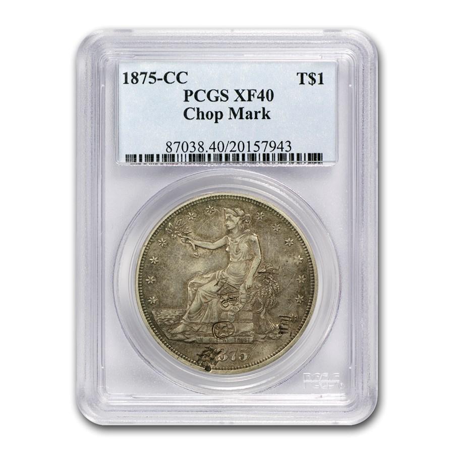 1875-CC Trade Dollar XF-40 PCGS (Chopmark)