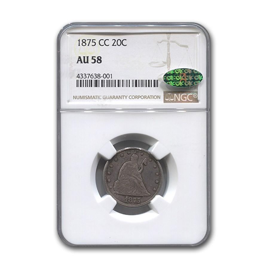 1875-CC Twenty Cent Piece AU-58 NGC CAC