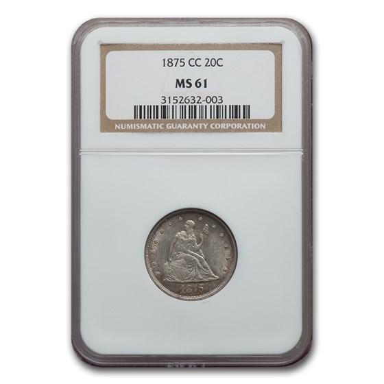 1875-CC Twenty Cent Piece MS-61 NGC