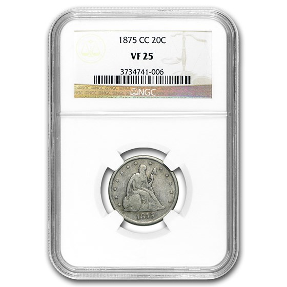 1875-CC Twenty Cent Piece VF-25 NGC