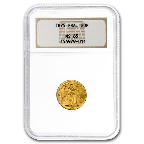 1875 France Gold 20 Francs Angel MS-65 NGC