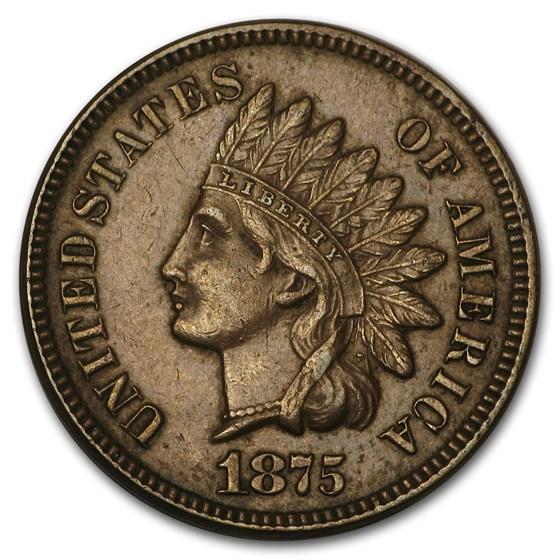 1875 Indian Head Cent AU