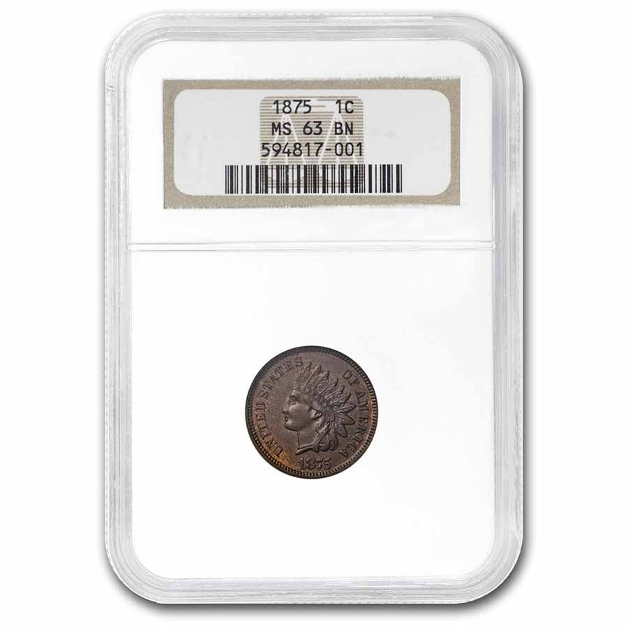 1875 Indian Head Cent MS-63 NGC CAC (Brown)