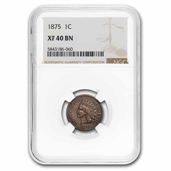 1875 Indian Head Cent XF-40 NGC (Brown)
