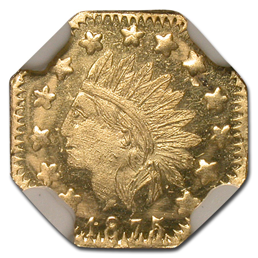 1875 Indian Octagonal 50 Cent Gold Token MS-65 NGC (DPL)