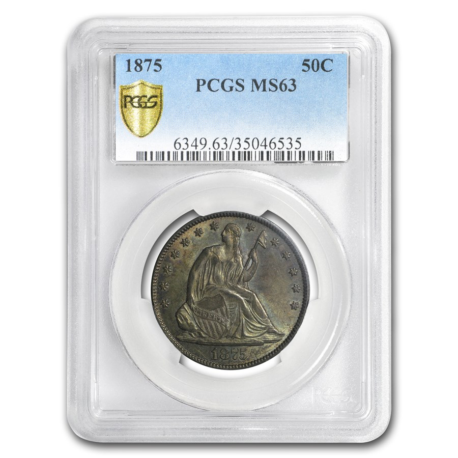 1875 Liberty Seated Half Dollar MS-63 PCGS